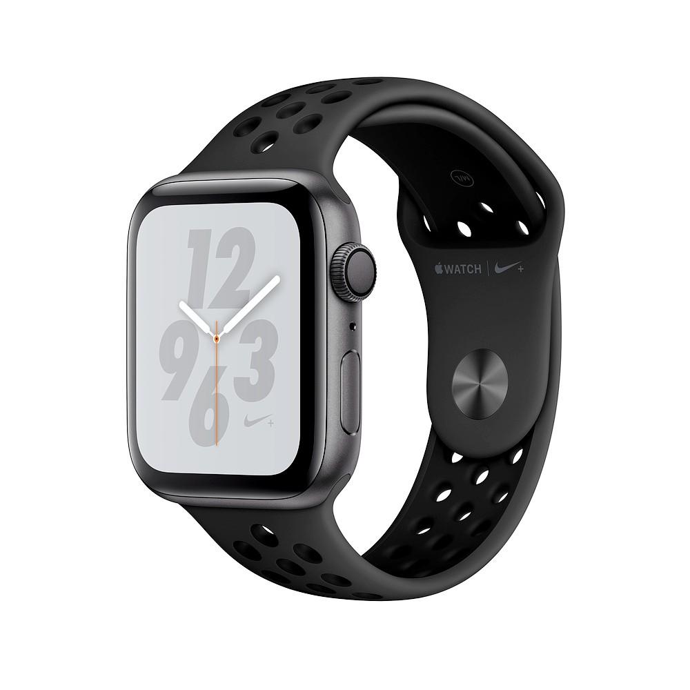 Apple Watch Nike+S4 GPS 44mm太空灰色鋁金屬錶殼搭Anthracite配黑色Nike運動型錶帶