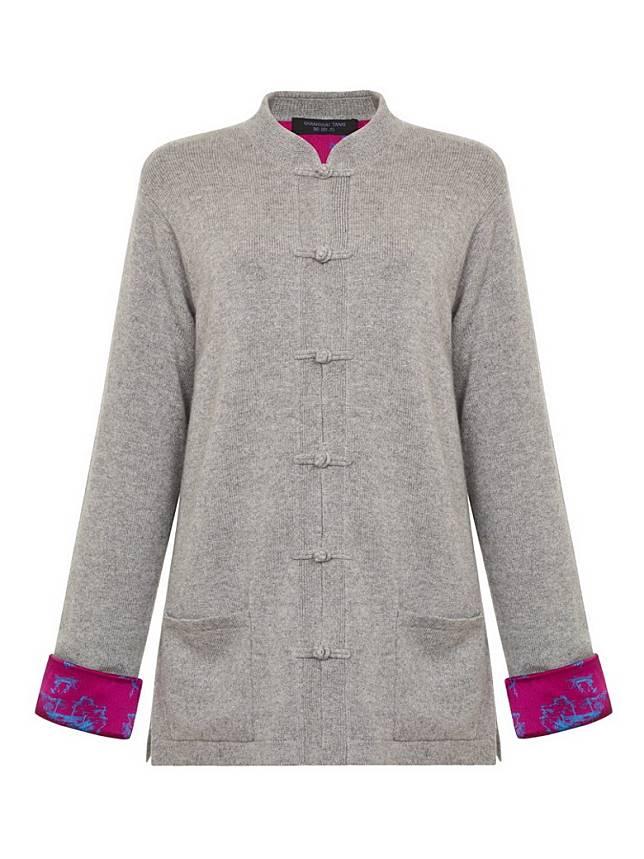 上海灘淺灰色拼桃紅色真絲印花襯裡混羊絨冷外套(互聯網)