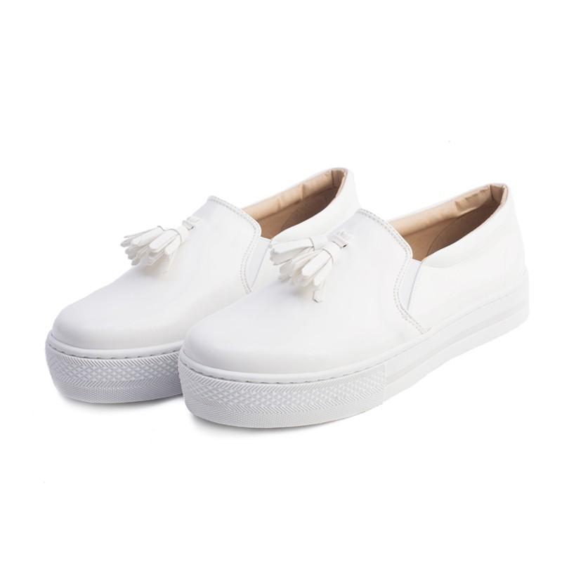 【Cute ii】MIT足弓機能真皮鞋墊小流蘇厚底休閒鞋 白