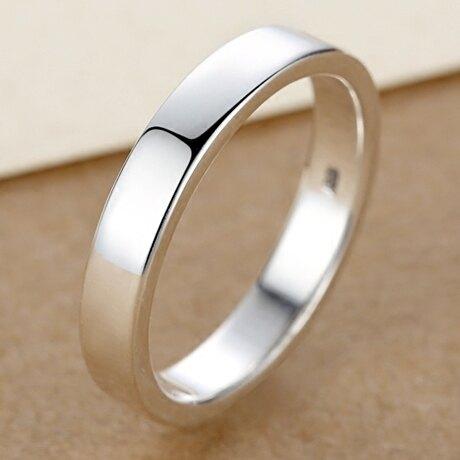 4MM【刻字定制】99純銀男士戒指女士情侶對戒 光圈 單身小指尾戒