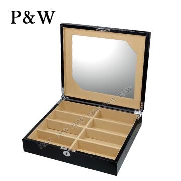 ◆超大隔間設計,可收納 8副眼鏡◆鋼琴烤漆精緻木盒◆內藏大化妝鏡,方便配戴眼鏡時使用