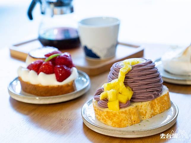 布甸、士多啤梨蛋糕 NT$180/ HK$45; 芋頭、菠蘿蛋糕卷 NT$180/ HK$45