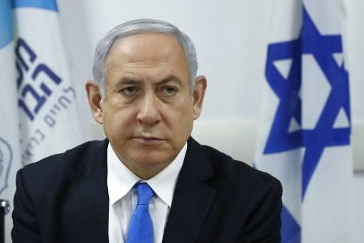 Israeli Prime Minister Benjamin Netanyahu attends a situation assessment meeting regarding the Coronavirus (COVID-2019), at the Health Ministry in the Israeli coastal city of Tel Aviv on Feb. 23, 2020.