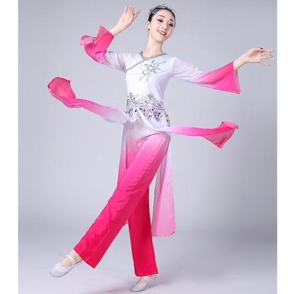 舞衣秧歌服演出服中老年古典舞蹈服裝女飄逸廣場扇子套裝成人 伊人閣