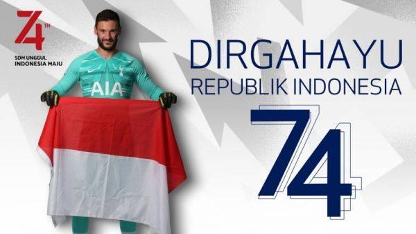 Twitter Tottenham Hotspur berbahasa Indonesia mengucapkan dirgahayu untuk Republik Indonesia.