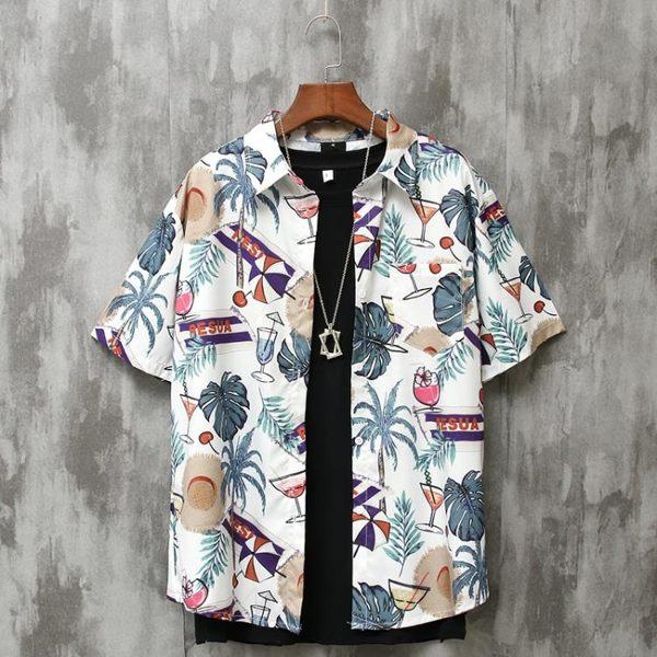 夏威夷花襯衫男復古港味潮流休閑寬松港風沙灘度假碎花短袖襯衫潮