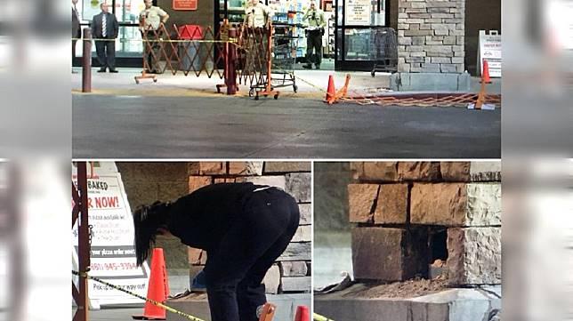 美國洛杉磯警方日前調查一起離奇的死亡案件,一名男子卡在超市外的中空石柱內身亡。(圖/翻攝自推特)