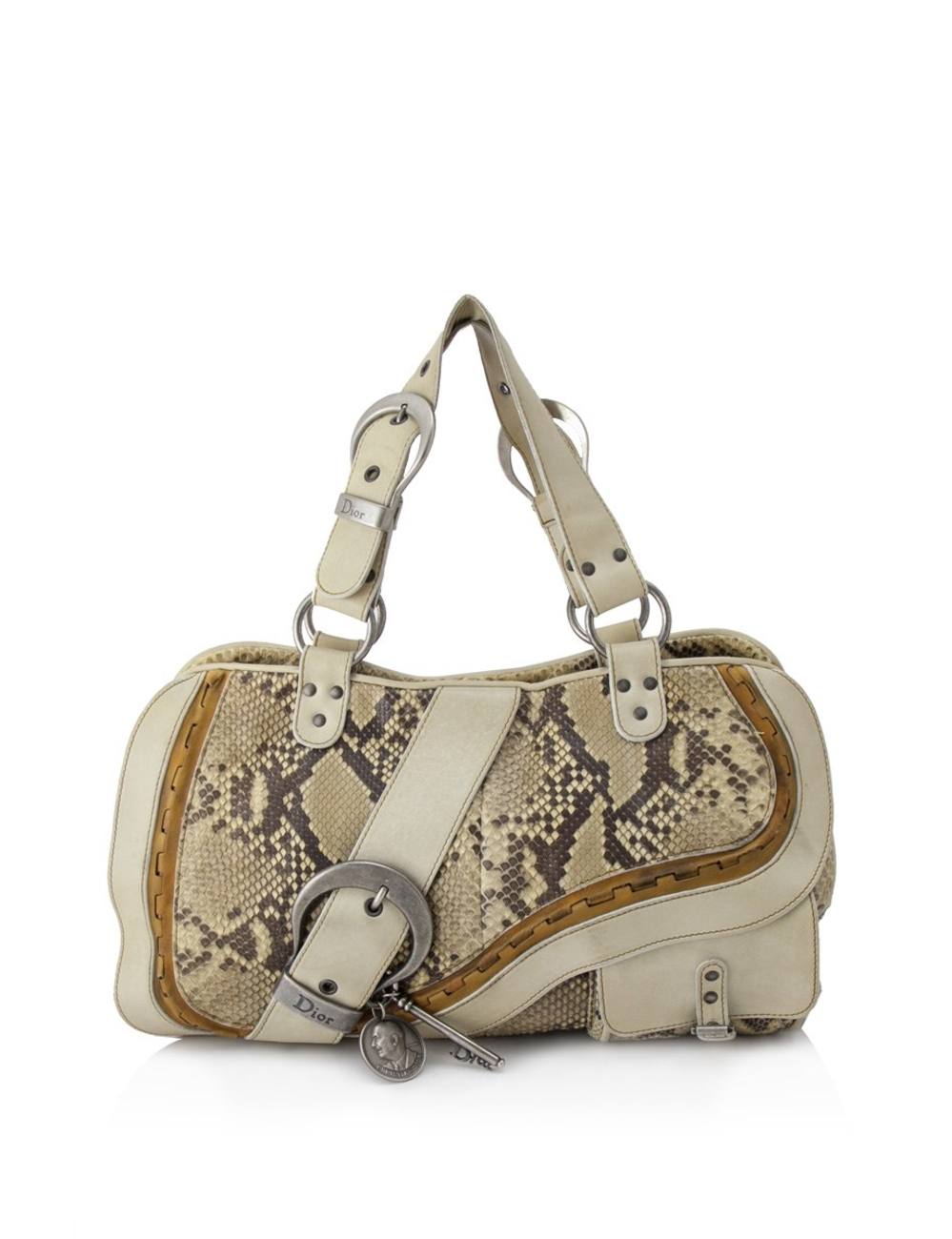 Exterior - Snakeskin leather with calfskin leather trim - Aged silver tone hardware - Double top han