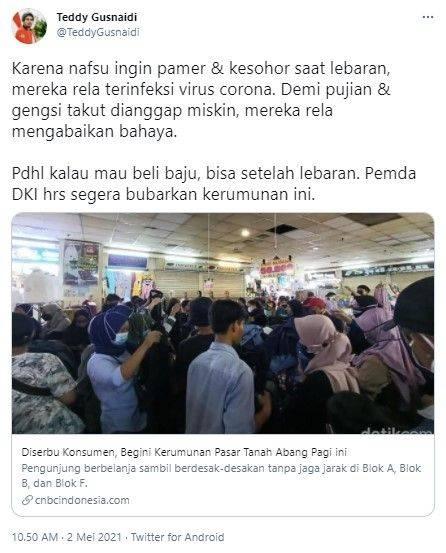 Teddy PKPI sindir keramaian di Pasar Tanah Abang (Twitter/teddygusnaidi)