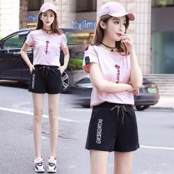零國界衣店 M-4XL 粉色運動服+黑色短褲
