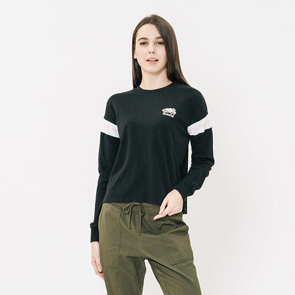 100%棉 肩線拼接短版設計拉長腿部比例 經典Roots品牌海狸與字樣