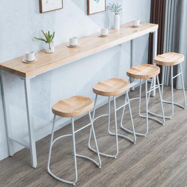 北歐實木吧台桌家用現代簡約陽台靠牆窄桌子高腳桌奶茶店酒吧桌椅 金曼麗莎