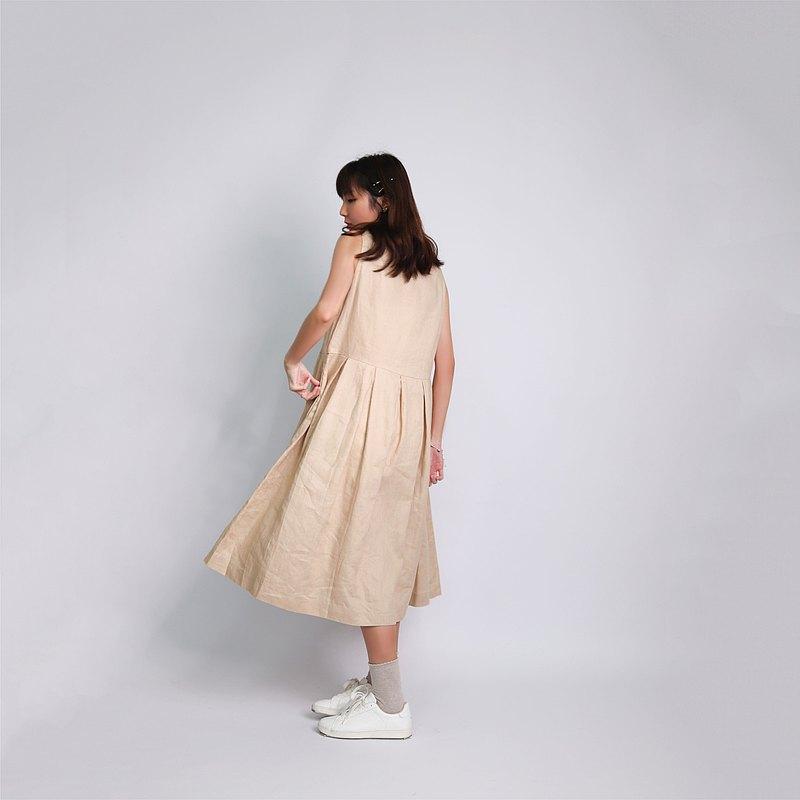 文青百褶連身裙   面料:100%麻   透氣、舒適、涼爽、吸汗
