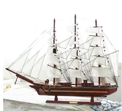 全手工木質制組裝 地中海中空帆船模型