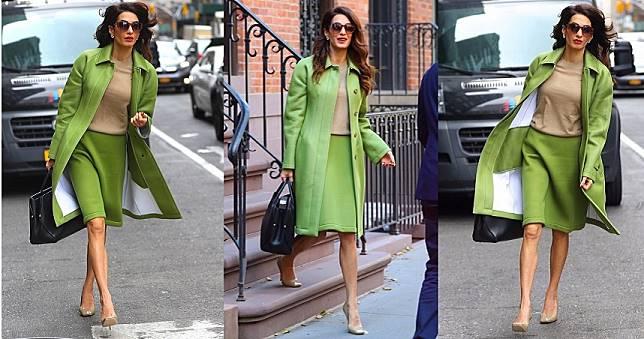 喬治克隆尼嬌妻Amal Clooney最美人權律師稱號不是說假的!這身時髦翠綠套裝實在好看的太搶眼