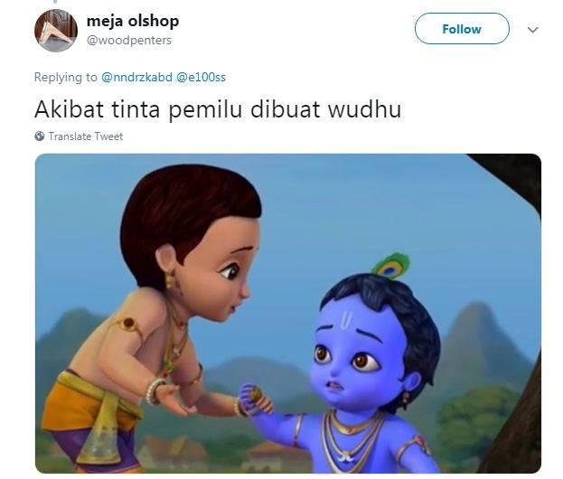 gambar 1 - meme tinta biru pemilu krisna