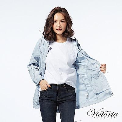 Victoria 抗UV長版防風外套-女-霧藍
