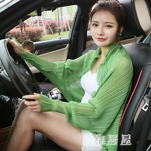 韓版夏季百變圍巾女開車騎車防曬披肩女士雪紡長款衣衫外套女披風TA8639【雅居屋】