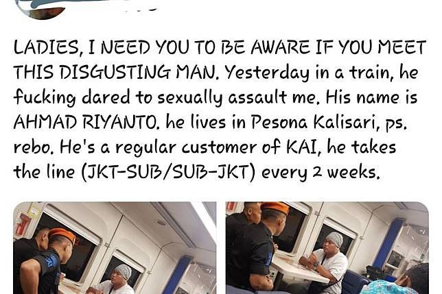 Seorang penumpang wanita mengalami pelecehan seksual dalam perjalanan kereta api jurusan Jakarta-Surabaya pada Senin (22/4/2019). Peristiwa tersebut diceritakan penumpang tersebut melalui akun twitter pribadinya @xr**by.