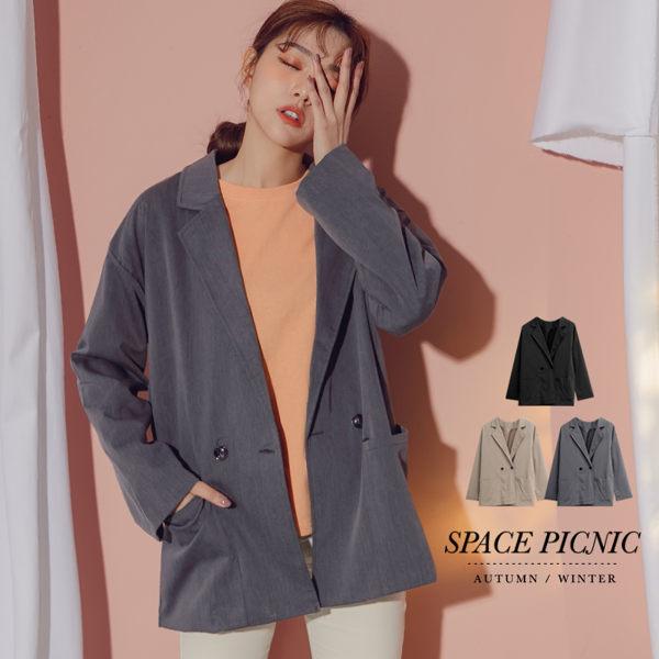 外套 素面大口袋設計西裝外套 內裡滑面