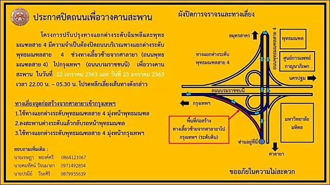 คืนพรุ่งนี้ (22 ม.ค.63) ปิดการจราจรเพื่อวางคานสะพาน บริเวณทางแยกต่างระดับพุทธมณฑลสาย 4 ช่วงทางเลี้ยวจากศาลายา  จะมุ่งหน้าเข้า กทม.