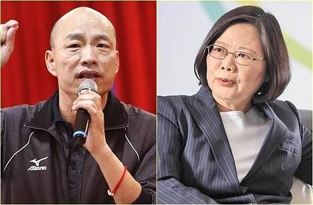 韓國瑜(左)、蔡英文(右)。(中時資料照片)