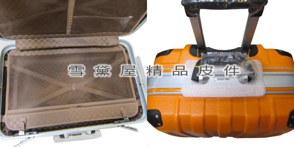 ~雪黛屋~18NINO81美國 24吋硬殼防盜鋁框亮彩鑽石紋行李箱防水防刮PC耐摔耐壓可座椅台灣製造品質保證U3028