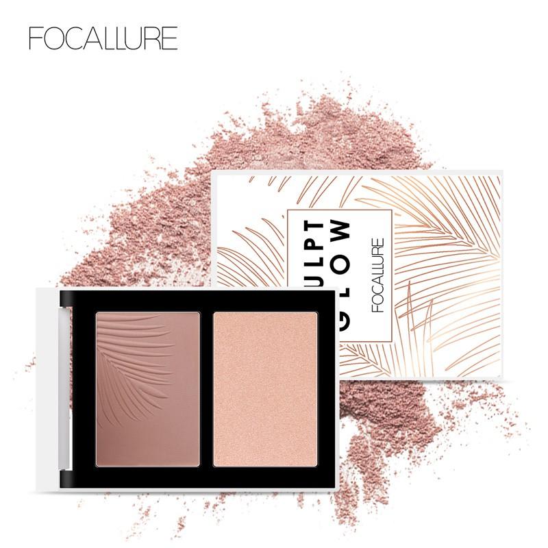 FOCALLURE菲鹿兒雙色立體高光陰影粉修飾五官輪廓打亮提亮膚色面部持久化妝品