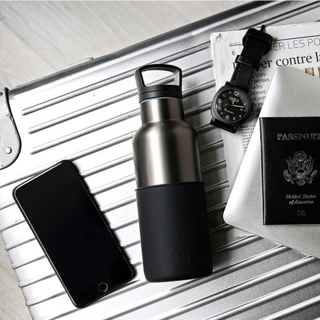 HYDY 油墨黑-鈦灰瓶 時尚保溫水瓶480ml + 刷具