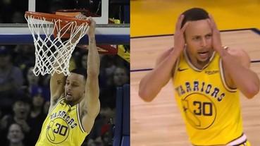 「萌神」發功!NBA 球星 Curry 上演雙手暴扣 被自己的灌籃嚇到當場驚呆!