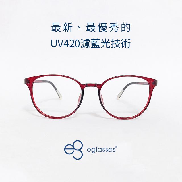 【EGlasses。眼鏡物語】塑鋼扭扭小圓框濾藍光眼鏡-都會紅 (EGA5057C05-58)