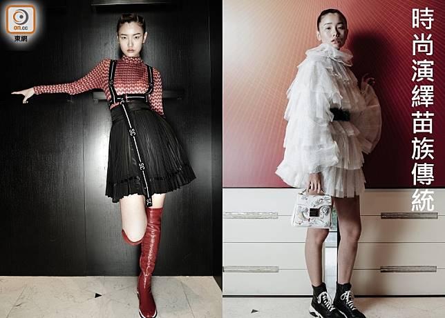 左:紅色圖案上衣、黑色半截裙、黑色Body Strap/右:白色層疊連身短裙、黑色皮帶、白色繡花手袋、黑色短靴 (張群生攝)