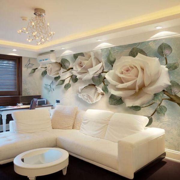 3D電視背景牆壁紙簡約現代客廳大氣影視牆裝飾5d立體凹凸花卉壁畫