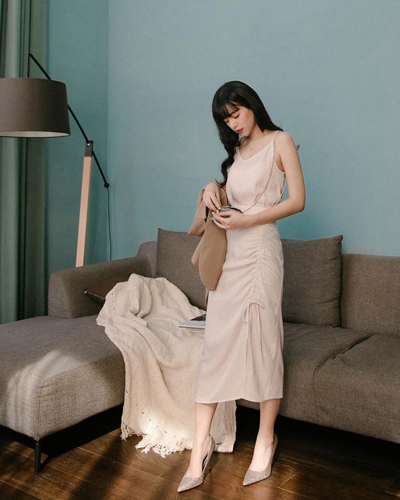 Mercci22+前抽褶設計裙套裝