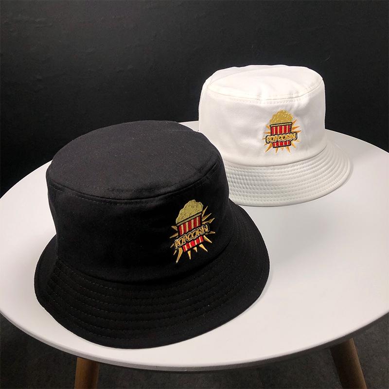 MAYEV帽子女夏季爆米花刺綉漁夫帽韓版戶外防曬遮陽短檐盆帽可折疊