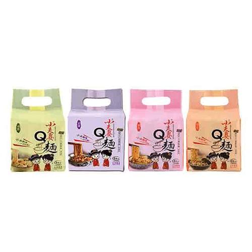 【小夫妻Q麵】 全家歡樂組(油蔥香x1+椒麻辣x1+菇蠔油x1+郁炸醬x1,共4袋,每袋各4包) iCarry
