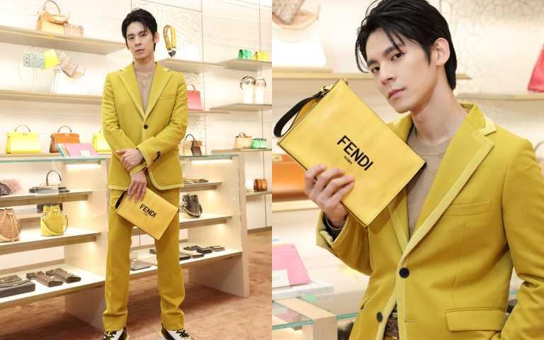 林柏宏身穿黃色亮彩度FENDI全套服裝出席秋冬預覽(圖/FENDI提供)