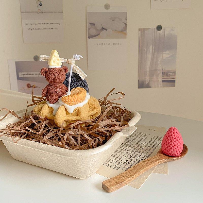 甜點系列 - 乳酪小熊柑橘鬆餅 韓系香氛蠟燭