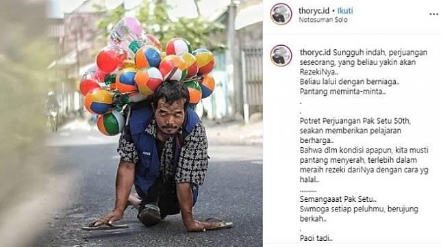 Kisah inspiratif penjual balon dengan merangkak. [Instagram]