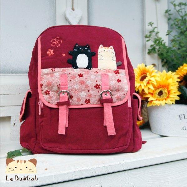 後背包~雅瑪小舖日系貓咪包 啵啵貓櫻花後背包/手提包/拼布包包
