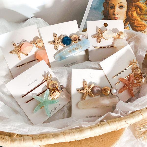 髮飾 可愛 海星 貝殼 珍珠 設計 兩件套 甜美 瀏海夾 邊夾 髮夾 髮飾【DD1906108】 icoca 07/25