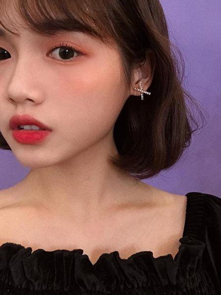耳環韓劇女主角同款耳環通勤百搭X交叉幾何耳釘時尚精致鑲鑽耳飾E797 曼莎時尚