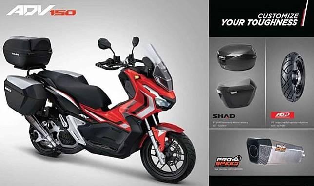 Honda ADV150 sudah ada knalpot dan box aftermarketnya dari Prospeed dan SHAD