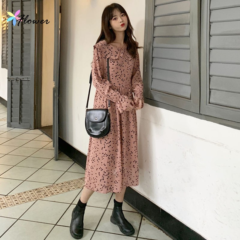 碎花洋裝 氣質洋裝 休閒外出韓版洋裝 淑女風 氣質中長款寬鬆娃娃領愛心長袖打底連衣裙長裙