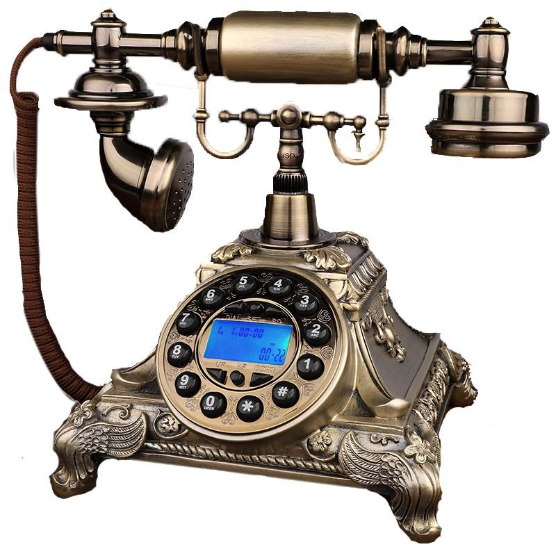 產品參數:仿古電話機產品名稱:電話機/酒店商務電話/工藝電話機/老人電話機 顏色分類: 古銅色旋轉撥號款(機械雙鈴聲)接電話線 古銅色免提背光款(機械雙鈴聲)接電話線 古銅色普通按鍵款(機械雙鈴聲)接