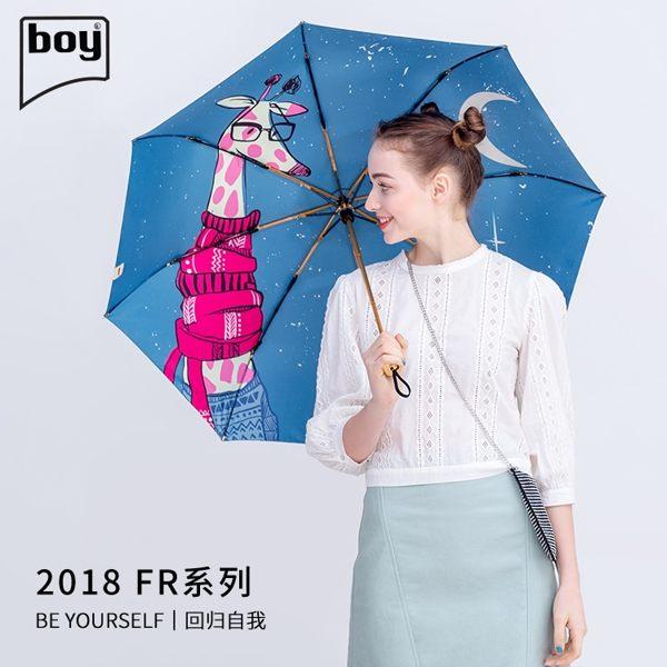 【德國boy】三折超輕黑膠防曬晴雨傘(月下)