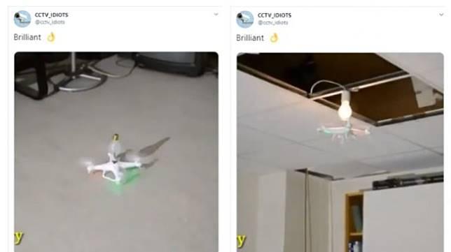 Pasang lampu pakai drone. (Twitter/@cctv_idiots)