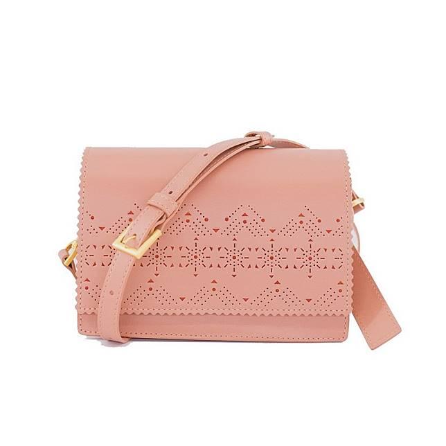 Renee粉紅色幾何鏤空及雕花圖案手袋 (互聯網)