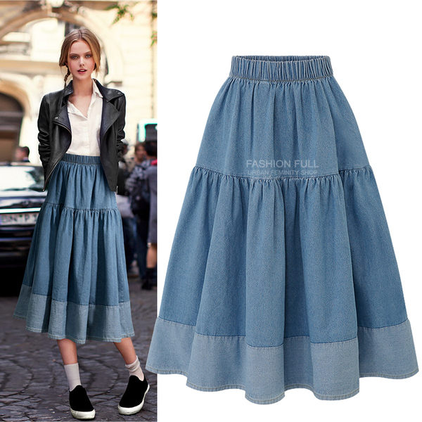 【GZ72】牛仔裙 韓國鬆緊縮腰休閒百搭大擺裙 拼接牛仔半身裙 中長裙