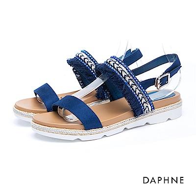 達芙妮DAPHNE 涼鞋-一字流蘇編織厚底釦踝涼鞋-藍
